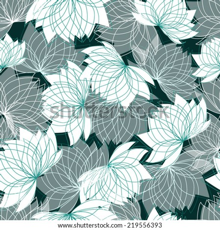 Seamless floral pattern with lotus - stock vector