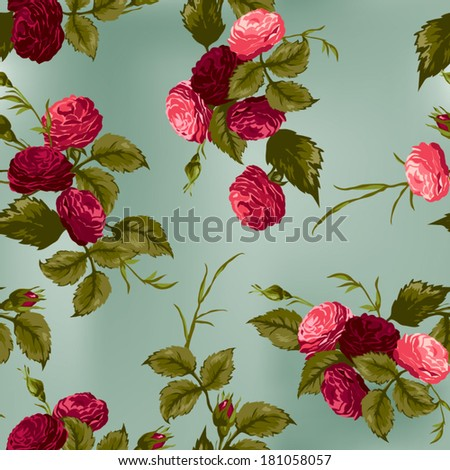 Seamless floral pattern with of red and pink roses. Vector background. - stock vector