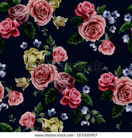 Seamless floral pattern with of red, purple and pink roses on black background, watercolor. Vector illustration. - stock vector