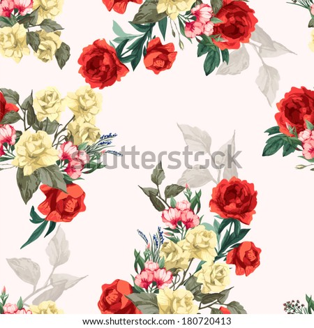 Seamless floral pattern with of yellow roses and red peony. Vector illustration. - stock vector