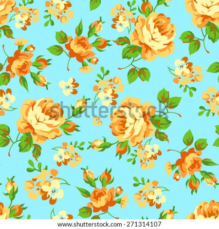 Seamless floral pattern with of yellow roses on blue background - stock vector