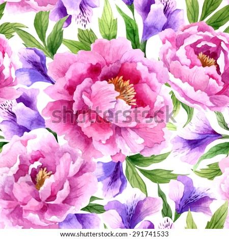 Seamless floral pattern with peonies and irises on light background, watercolor. - stock vector