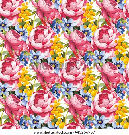 Seamless floral pattern with peony - stock vector