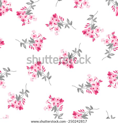 Seamless floral pattern with pink flowers   - stock vector