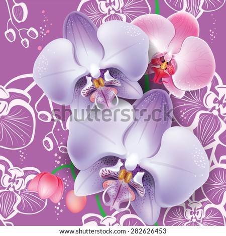 Seamless floral pattern with pink orchid  - stock vector