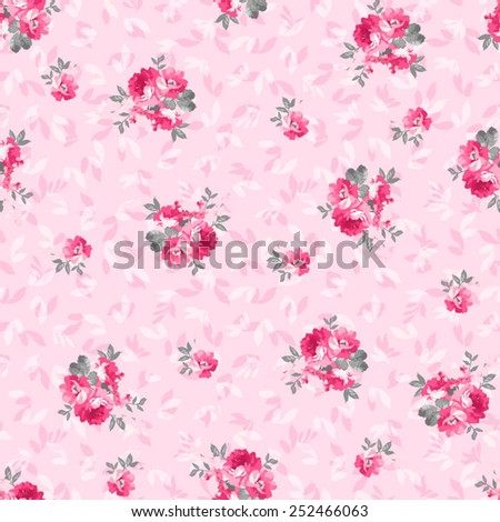 Seamless floral pattern with pink rose - stock vector