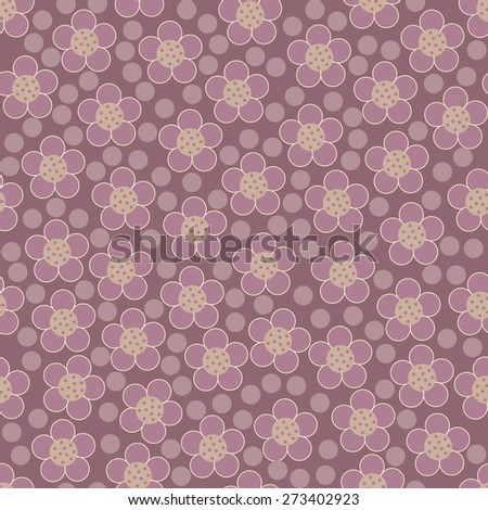 Seamless floral pattern with polka dots. Vector illustration. - stock vector
