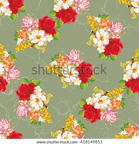 Seamless floral pattern with rose orange white flowers Vector Illustration EPS8 - stock vector