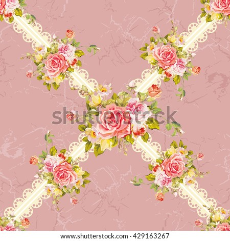 Seamless floral pattern with rose Vector Illustration EPS8 - stock vector
