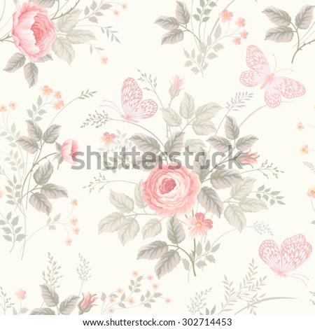 seamless floral pattern with roses in pastel colors - stock vector