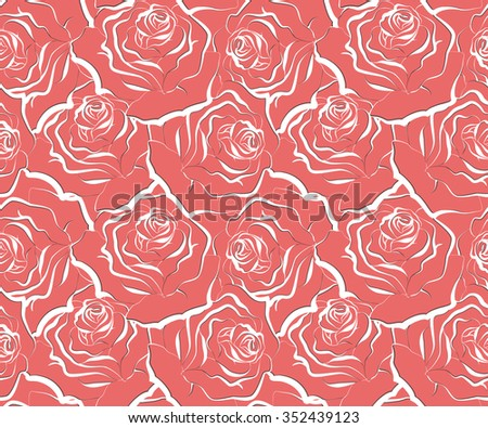 Seamless floral pattern with Roses. Vector illustration. - stock vector