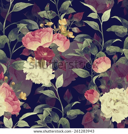 Seamless floral pattern with roses, watercolor. Vector.  - stock vector