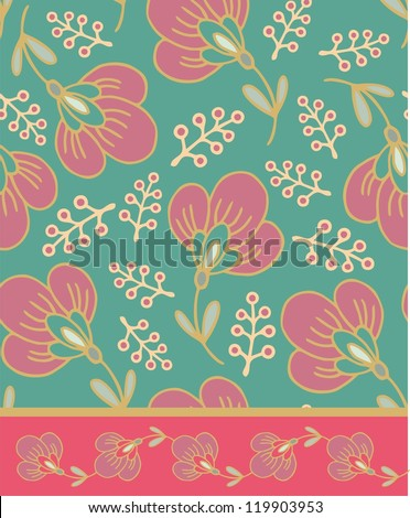 seamless floral pattern with sakura flowers - stock vector