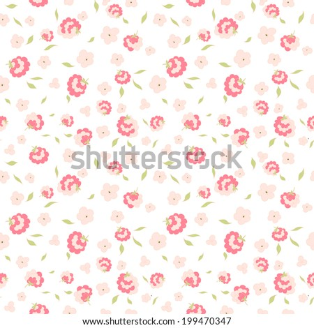 Seamless floral pattern with small flowers - stock vector