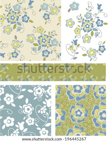 Seamless Floral Patterns and Icons. Use as fills or print off onto fabric to create unique items. - stock vector