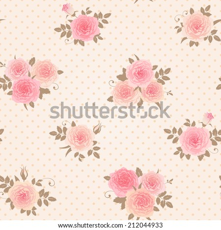 Seamless floral polka dot background. Shabby chic style pattern with roses. - stock vector