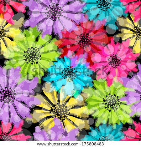 Seamless floral spring pattern with translucent flowers and balls on black (vector EPS 10. You can edit flowers) - stock vector