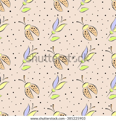 Seamless floral vector pattern. Colorful ornamental background with ladybugs and flowers. Decorative repeating ornament, Series of Floral and Decorative Seamless Pattern. - stock vector