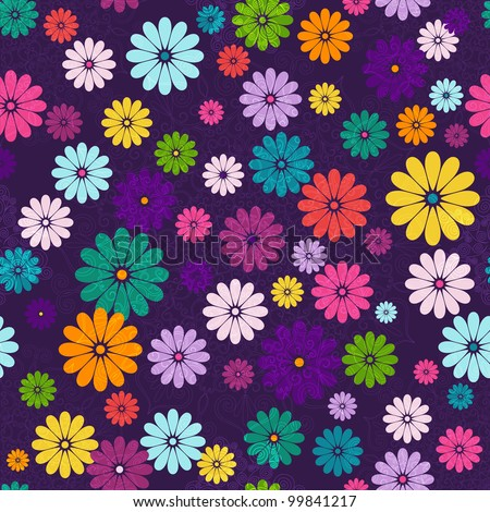 Seamless floral vivid pattern with colorful flowers and vintage curls (vector eps 10) - stock vector