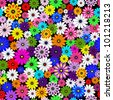 Seamless floral vivid pattern with colorful flowers on black(vector) - stock vector