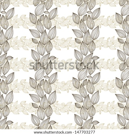 Seamless floral wallpaper, hand drawn, vector. - stock vector