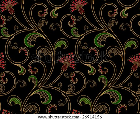 Seamless floral wallpaper pattern, vector - stock vector