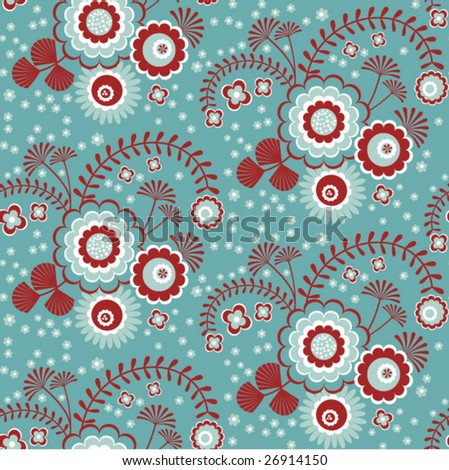 Seamless floral wallpaper, vector - stock vector