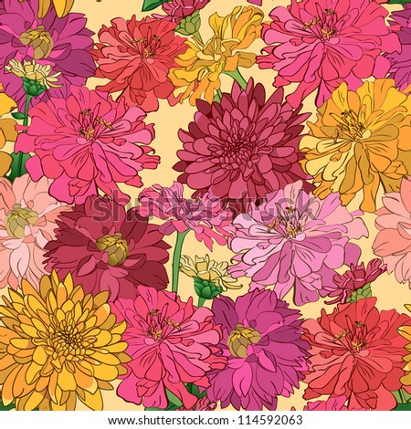 Seamless floral wallpaper with hand-drawn flowers, brightly-colored - stock vector