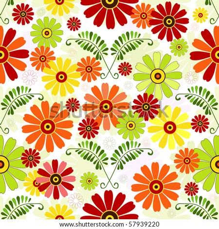 Seamless floral white pattern with vivid colorful flowers (vector) - stock vector