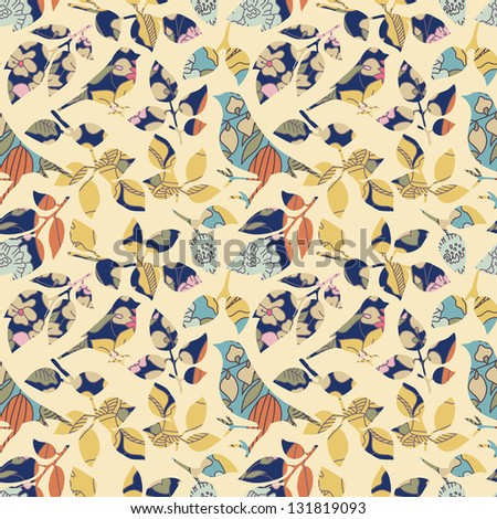 Seamless floral with birds imitating applique - stock vector