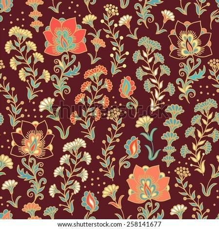 Seamless flourish pattern - stock vector