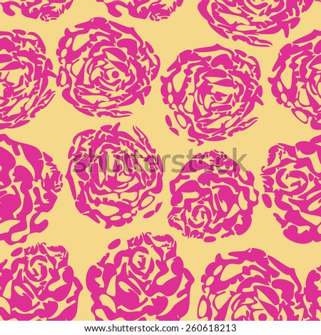 Seamless flower background with pink rose and leaves, element for design, vector illustration. - stock vector