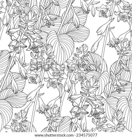 seamless flower black&white vector pattern  - stock vector