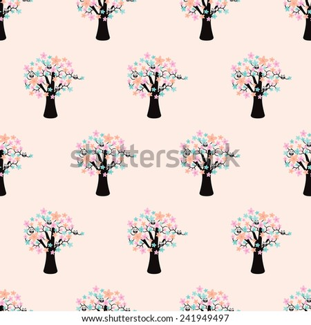 Seamless flower blossom tree with cute little owl illustration background pattern design in vector - stock vector