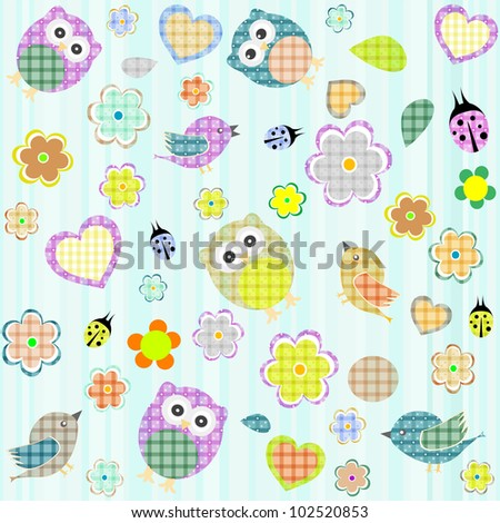 Seamless flowers and owl pattern. vector background - stock vector