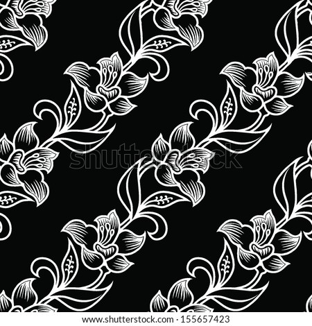 Seamless flowers black and white batik background . - stock vector