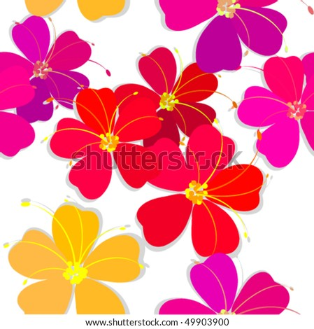 Seamless flowers vector abstract background. - stock vector