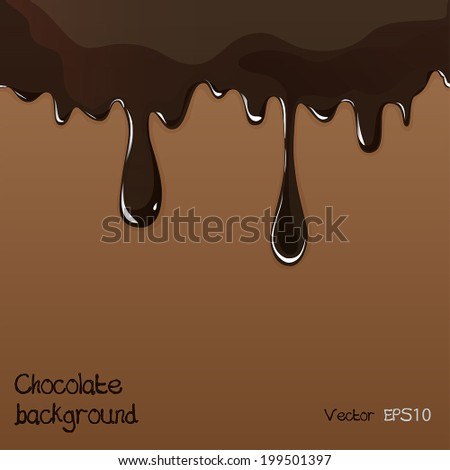 Seamless flowing melted chocolate dripping isolated on brown background. Vector EPS10 - stock vector