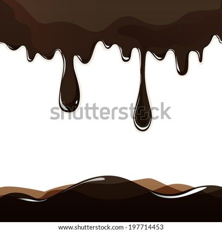 Seamless flowing melted chocolate dripping isolated on white background. Vector EPS10 - stock vector