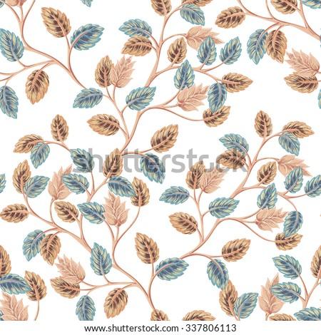 Seamless foliage retro background pattern. Decorative backdrop for fabric, textile, wrapping paper, card, invitation, wallpaper, web design - stock vector