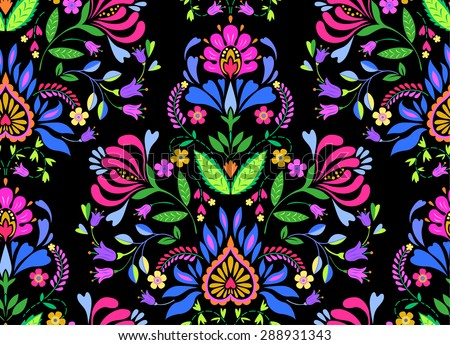 seamless folk pattern with Polish and Mexican influence. trendy ethnic decorative flowers in symmetric allover design. for fashion, interior, stationery, web. - stock vector