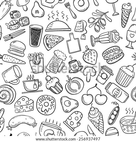 Seamless food and drink background - stock vector