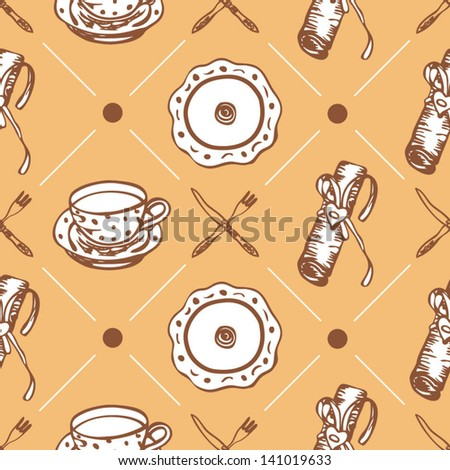 Seamless food pattern with plates and dishes on the yellow background in vector - stock vector