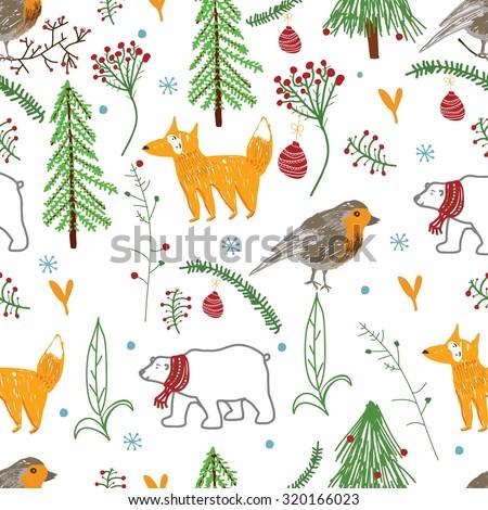 Seamless Fox, bird, bear,  winter forest, happy, pattern in vector.  Beautiful background  - stock vector