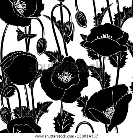 Seamless from black poppies(can be repeated and scaled in any size) - stock vector