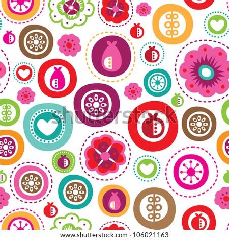 Seamless fruit apple pear flower kids decoration pattern in vector - stock vector