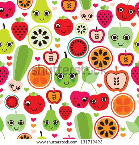 Seamless fruit kids illustration apple strawberry pear background pattern in vector - stock vector