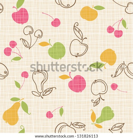 seamless fruits pattern - stock vector