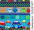 Seamless fun stripes with cartoons owls and cars in blue, red and other little boy colors.EPS10. - stock vector