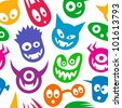 Seamless funny colorful monsters. - stock vector